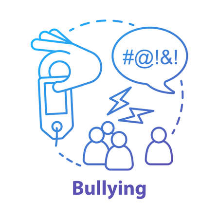 Verbal and social bullying concept icon. Harassment, social abuse and violence idea thin line illustration. Antisocial aggressive behaviour. Vector isolated outline drawing
