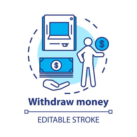 Withdraw money concept icon. Savings idea thin line illustration. Using ATM, getting cash from bank. Getting interest from deposit, bank account. Vector isolated outline drawing. Editable stroke