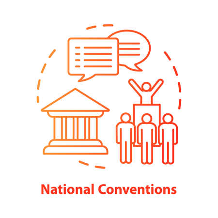 Elections concept icon. Organised national conventions idea thin line illustration. Supporter, the voting public gathering. Social meeting, protest action. Vector isolated drawing. Editable stroke Stock Illustratie