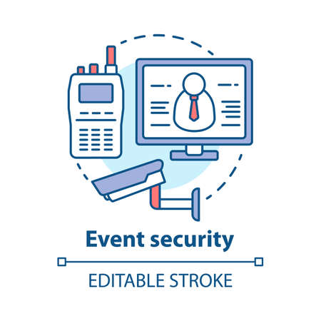 Event security concept icon. Video surveillance and professional monitoring system idea thin line illustration. CCTV. Safety, high protection. Vector isolated outline drawing. Editable stroke
