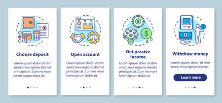 Bank deposit operations onboarding mobile app page screen with linear concepts. Banking service. Four walkthrough steps graphic instructions. UX, UI, GUI vector template with illustrations