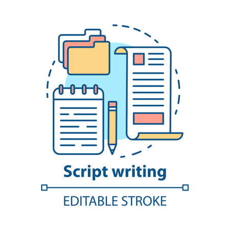 Script writing concept icon. Screenwriting, scriptwriting. Copywriting idea thin line illustration. Content creating. Article, essay writing. Vector isolated outline drawing. Editable stroke Stock Illustratie