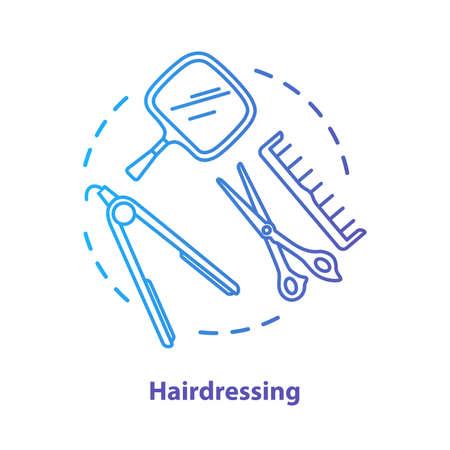 Icône de concept bleu de coiffure. Illustration de ligne mince d'idée d'équipement professionnel de salon de coiffure. Ciseaux, fer à lisser. Dessin de contour isolé vecteur dégradé bleu. Trait modifiable