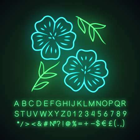 Blue flax plant neon light icon. Linen wild flower. Spring blossom. Blooming linum wildflower. Glowing sign with alphabet, numbers and symbols. Vector isolated illustration Illusztráció
