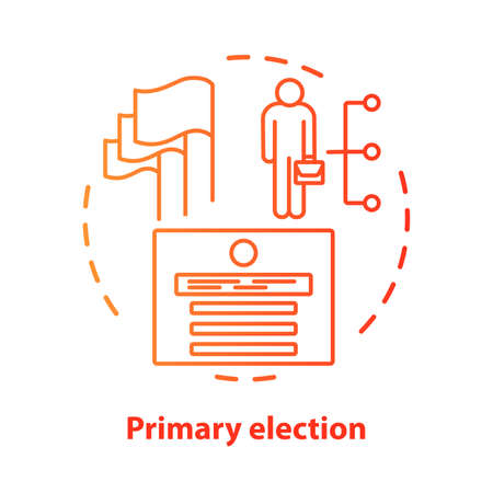 Elections concept icon. Primary election, ballot idea thin line illustration. Choosing new representers of  government, ministers, party members. Vector isolated outline drawing. Editable stroke Stock Illustratie