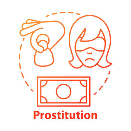Prostitution concept icon. Sex trafficking idea thin line illustration. Sexual exploitation, slavery. Assault and harassment. Commercial sex. Debauchery. Vector isolated drawing Illustration