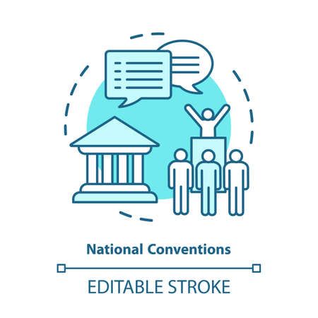 Elections concept icon. Organised national conventions idea thin line illustration. Supporter, voting public gathering. Social meeting, protest action. Vector isolated outline drawing. Editable stroke
