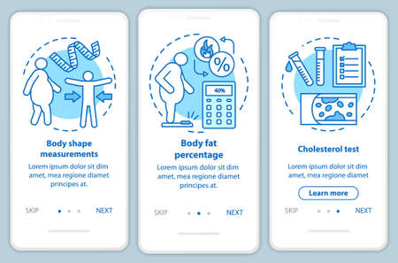 Body health onboarding mobile app page screen with linear concepts. Cholesterol test. Three walkthrough steps graphic instructions. Body shape measurements. UX, UI, GUI vector template, illustrations