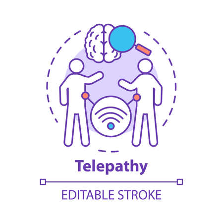 Telepathy concept icon. Mind reading, thought transference idea thin line illustration. Psychic abilities. Brain with magnifying glass and people vector isolated outline drawing. Editable stroke