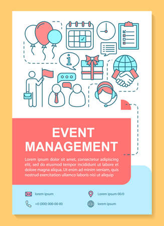 Event management poster template layout. Corporate party planning. Holiday celebration. Banner, booklet, leaflet print design with linear icons. Vector brochure page layouts for advertising flyers