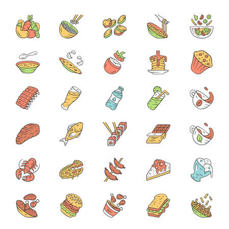 Menu dishes color icons set. Salads, first meal, main dishes. Burgers, pizza, beverages, desserts. Fast food, restaurant, cafe, bistro meal. Isolated vector illustrations Illustration