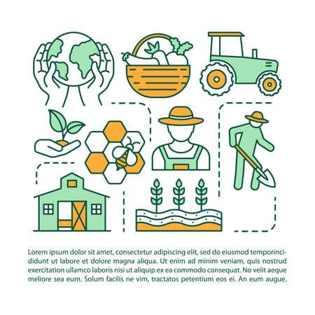 Torna al modello di vettore della pagina dell'articolo di terra. Agricoltura e raccolta. Brochure, elemento di design opuscolo con icone lineari e caselle di testo. Stampa disegno. Illustrazioni concettuali con spazio di testo