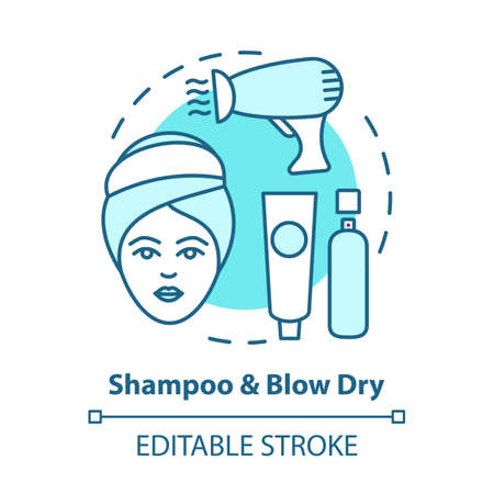 Shampoo and blow dry blue concept icon. Hair care, treatment products. Hairstyling idea thin line illustration. Hairdresser salon, hairstylist parlor. Vector isolated outline drawing. Editable stroke