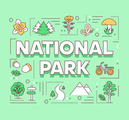 National park word concepts banner. Forest reserve. Natural foliage. Outdoor active recreation. Presentation, website. Isolated lettering typography idea with linear icons. Vector outline illustration