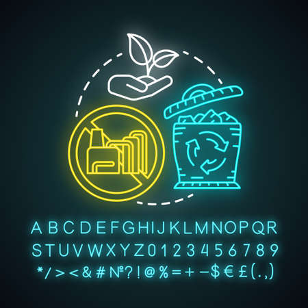 Sustainable neon light concept icon. Reducing unnecessary waste idea. Recycling, greening. Consumption decreasing. Glowing sign with alphabet, numbers and symbols. Vector isolated illustration