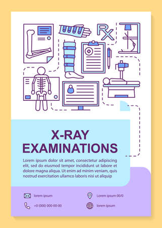 X-ray examination brochure template layout. Hospital equipment. Flyer, booklet, leaflet print design, linear illustrations. Radiological survey. Vector page layouts for reports, advertising posters
