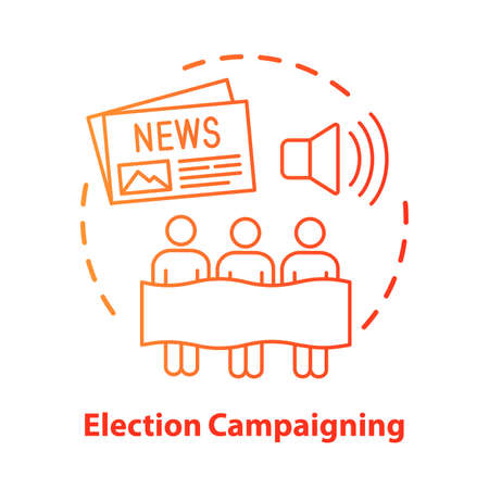 Election concept icon. Election campaigning idea thin line illustration. Political presidential race, propaganda. Marketing strategy. Social influence. Vector isolated outline drawing. Editable stroke