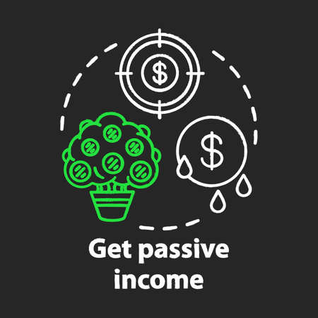 Get passive income chalk concept icon. Savings idea. Getting interest, percentage from investment, deposit. Gaining residual profits. Financial services. Vector isolated chalkboard illustration Çizim