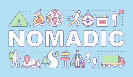Nomadic word concepts banner. Moving from place to place. Living with no permanent residence. Presentation, website. Isolated lettering typography idea with linear icons. Vector outline illustration