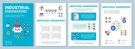 Industrial engineering brochure template layout. Manufacturing. Flyer, booklet, leaflet print design with linear illustrations. Vector page layouts for magazines, annual reports, advertising posters