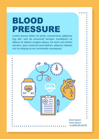 Blood pressure brochure template layout. Heart functioning monitoring. Flyer, booklet, leaflet print design with linear illustrations. Vector page layouts for annual reports, advertising posters Vector Illustration
