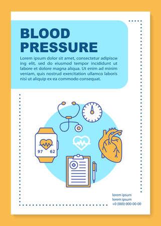 Layout der Blutdruckbroschüre. Überwachung der Herzfunktion. Flyer, Broschüre, Broschürendruckdesign mit linearen Illustrationen. Vektorseitenlayouts für Geschäftsberichte, Werbeplakate Vektorgrafik