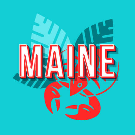 Maine vintage 3d vector lettering. Retro bold font, typeface. Pop art stylized text. Old school style letters. 90s, 80s poster, banner, t shirt typography design. Blue color background