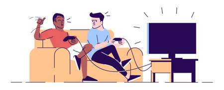 Boys rivalry in videogame flat vector illustration. Students, roommates holding joysticks. Happy winner, disappointed loser isolated cartoon characters with outline elements on white background