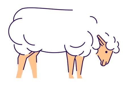 White sheep side view flat vector illustration. Livestock farming, domestic animal husbandry design element with outline. Merino ewe isolated on white background. Lamb meat, sheep wool production logo Ilustração