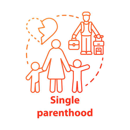 Single parenthood concept icon. Marital disputes & divorce idea thin line illustration. Single parent family. Child custody. Separated parents. Vector isolated outline drawing Иллюстрация