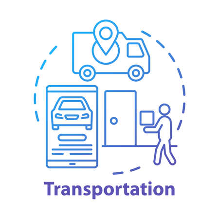Transportation service concept icon. Express home delivery business idea thin line illustration. Taxi call application. Van, smartphone and courier with package vector isolated outline drawing