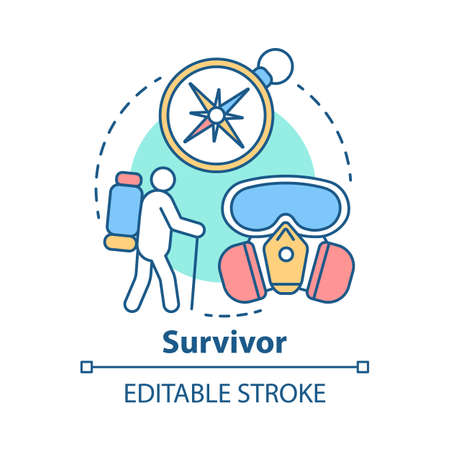 Survivor concept icon. Remaining alive idea thin line illustration. Hiking camp. Travelling in extreme conditions. Adventurous trekking, traveler. Vector isolated outline drawing. Editable stroke Иллюстрация