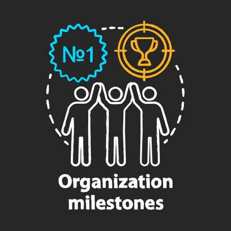 Organization milestones celebrating chalk concept icon. Company goals, aspirations and achievements idea. Best result, champion. Vector isolated chalkboard illustration Ilustración de vector