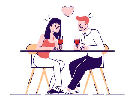 Couple dating in cafe flat vector illustrations. Romantic boy and girl sitting at restaurant table. Young people drink wine, flirt isolated cartoon characters with outline elements on white background  イラスト・ベクター素材