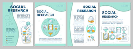 Social research brochure template layout. Sociology. Social poll, survey. Flyer, booklet, leaflet print design with linear illustrations. Vector page layouts, annual reports, advertising posters Illustration