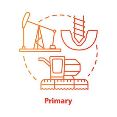 Icono de concepto rojo primario. Ilustración de línea fina de idea de fabricación y construcción de productos. Industria primaria. Equipo de producción de materias primas. Dibujo de contorno aislado del vector. Trazo editable