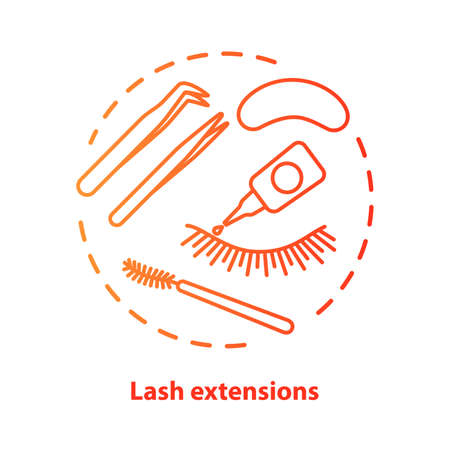 Lash extension blue concept icon. False eyelashes, permanent makeup idea thin line illustration. Cosmetology salon procedure. Red gradient vector isolated outline drawing. Editable stroke Vettoriali