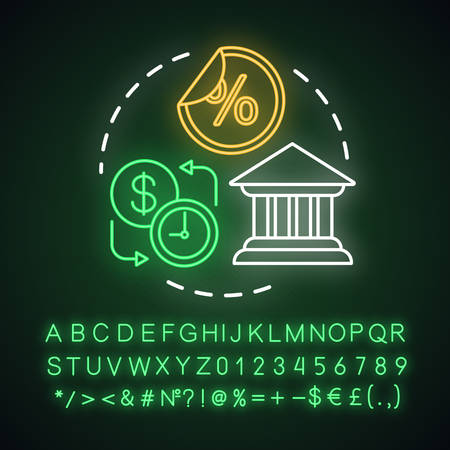 Savings neon light concept icon. Fixed deposit idea. Creating investment account. Getting bigger profits. Glowing sign with alphabet, numbers and symbols. Vector isolated illustration Ilustração