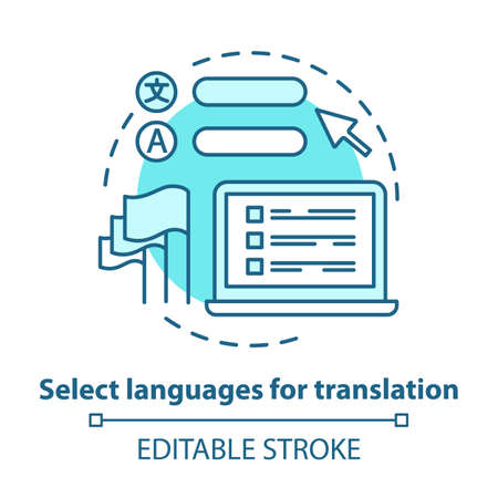 Select languages for translation blue concept icon. Translator software idea thin line illustration. Learning foreign language. Online dictionary app. Vector isolated outline drawing. Editable stroke