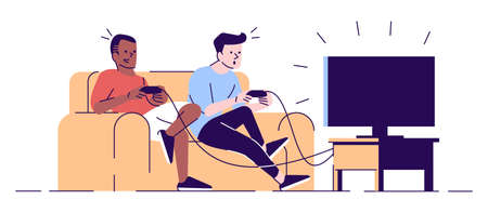 Boys playing videogame flat vector illustration. Students, roommates with joysticks looking at TV set screen, sitting on sofa isolated cartoon characters with outline elements on white background Иллюстрация