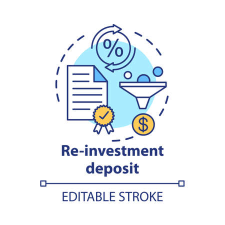 Savings concept icon. Reinvestment deposit idea thin line illustration. Creating investment account. Full profit, interest percentage withdrawal. Vector isolated outline drawing. Editable stroke