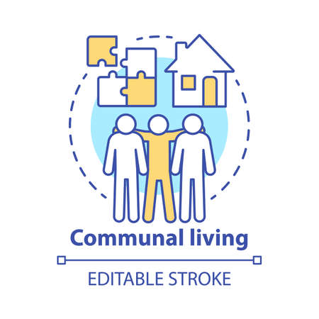 Communal living concept icon. Cohousing arrangement idea thin line illustration. Living in common place. Residential community, collective household. Vector isolated outline drawing. Editable stroke