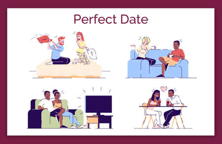 Perfect date flat vector concept illustration. Romantic couple enjoying relax, leisure time together. Boyfriend, girlfriend, lovers pastime isolated cartoon design elements set on white background