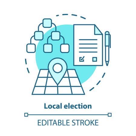 Elections concept icon. Local election idea thin line illustration. Voting, choosing from political candidates, parties. Mayor, council voting day. Vector isolated outline drawing. Editable stroke