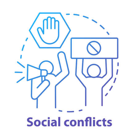 Social conflicts and disputes concept icon. Antisocial behaviour, violence and unrest idea thin line illustration. Riot, strike, civil protest. Vector isolated outline drawing Иллюстрация