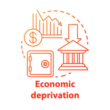 Economic deprivation concept icon. Poverty & financial loss, money lack. Thin line illustration. Financial crisis. Stock market crash, decline. Bankruptcy. Isolated outline drawing