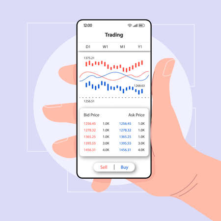 Trading analytics smartphone interface vector template. Mobile app page white design layout. Commerce statistics screen. Flat UI for application. Hand holding phone with bid, ask price on display