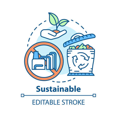 Sustainable concept icon. Reducing unnecessary waste idea thin line illustration. Recycling, greening. Natural resource consumption decreasing. Vector isolated outline drawing. Editable stroke