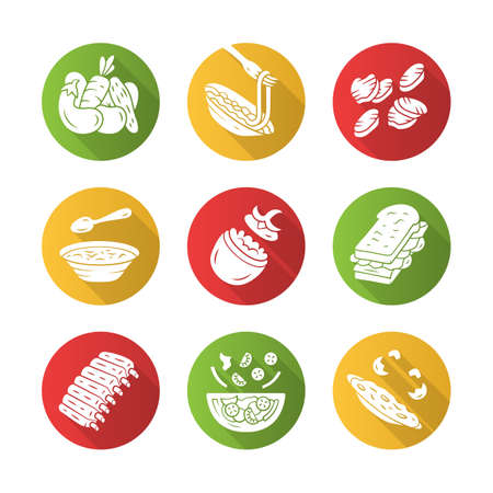 Restaurant menu dishes flat design long shadow glyph icons set. Salads, soup, main dishes. Pasta, grilled vegetables, omelette, sandwich. Nutritious food. Vector silhouette illustration