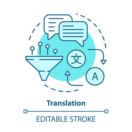 Translation blue concept icon. Online translator idea thin line illustration. Foreign language learning. Multilingual translation and interpretation. Vector isolated outline drawing. Editable stroke Фото со стока - 129620969